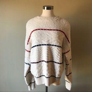 Vintage Woolrich Cream Multi Stitch Stripe Sweater